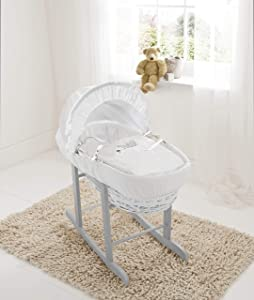 Sleepy Little Owl White Wicker Moses Basket  amp  Deluxe Dove Grey Rocking Stand