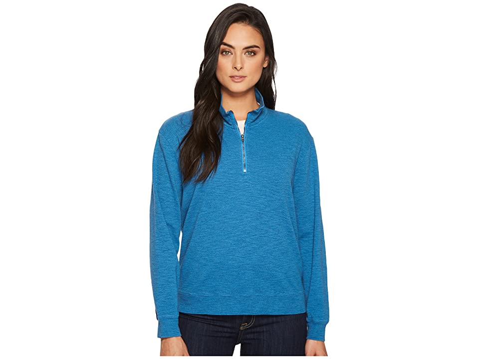 Mod-o-doc Heather Slub Rib 1/2 Zip Funnel Pullover (Yacht) Women