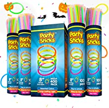 PartySticks Glow Sticks Jewelry Bulk Party Favors 400pk - 8 Inch Glow in The Dark Party Supplies, Neon Party Glow Necklaces and Glow Bracelets