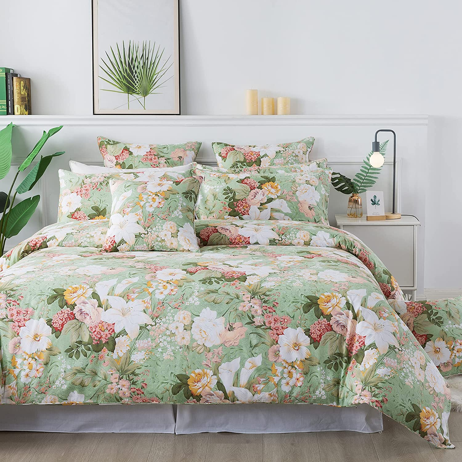 FADFAY Floral Duvet Cover Set Queen Cotton Time sale B Vintage Shabby 100% Dealing full price reduction