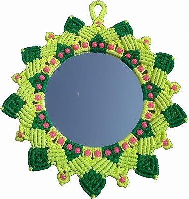 Macrame House Handmade Sun Flower Mirror (Green and Parrot Green)