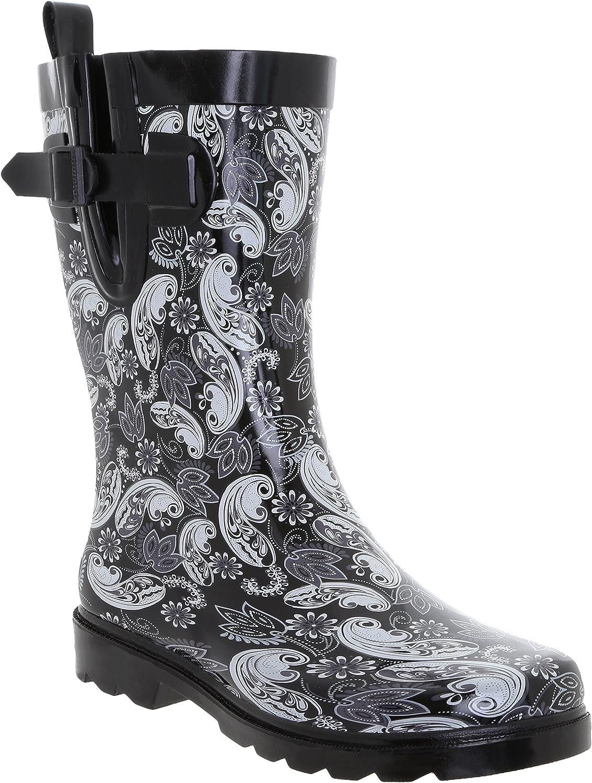 Capelli New York Ladies Ornate Paisley Multi Printed Mid-Calf Rubber Rain Boot