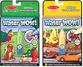 """Melissa & Doug On the Go Water Wow! Reusable Water-Reveal Activity Pads, Vehicle & Animal Watercolor Books, Chunky-Size Water Pen, 2-Pack, 10"""" H × 6.25"""" W × 1.5"""" L"""