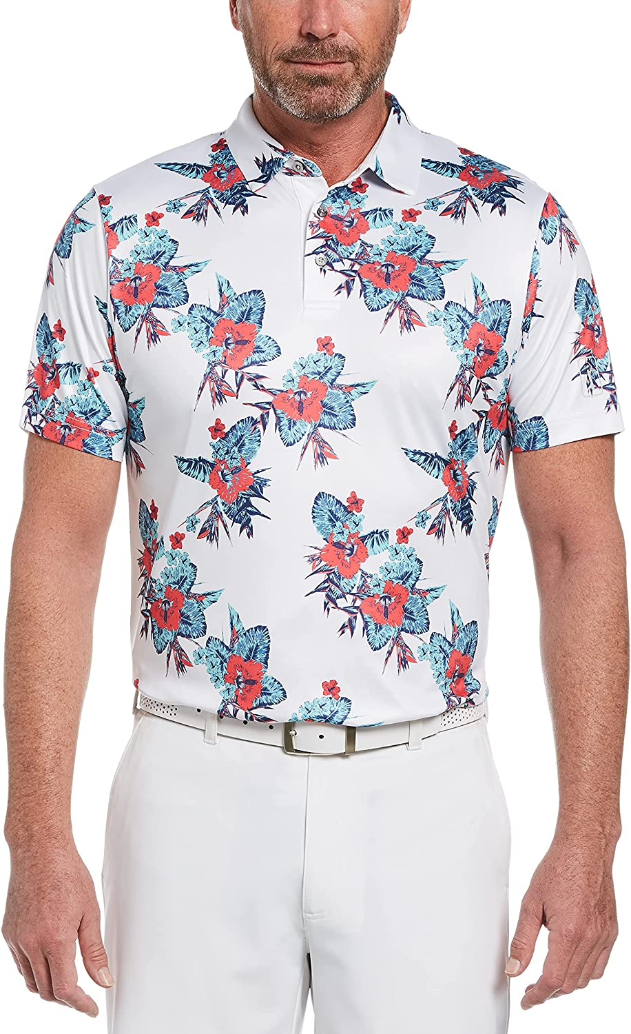Our shop OFFers the best service PGA TOUR Men's Allover Tropical Print Shi Polo Short Golf Sleeve Limited time sale