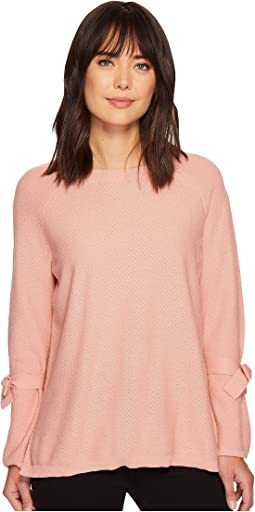 TWO by Vince Camuto - Long Sleeve Texture Stitch Tie Sleeve Sweater