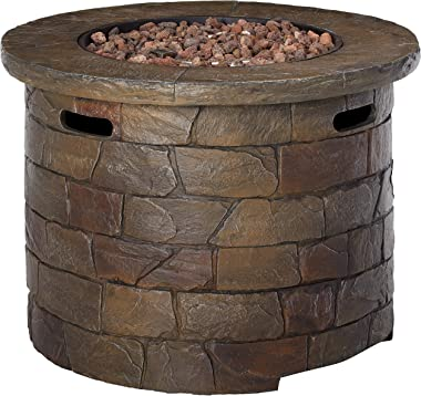 Christopher Knight Home Stillwater Outdoor Circular Firepit, Natural Stone Finish