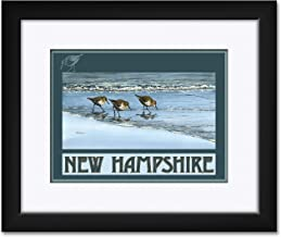 New Hampshire Birds at Beach Framed & Matted Art Print by Dave Bartholet. Print Size: 9