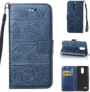 KMISS LG K10 2018/ LG K30 Wallet Case, LG Premier Pro LTE/Xpression Plus/K30 Plus/Harmony 2/LG Phoenix Plus Case, Premium Emboss Elephant [Kickstand Feature] Flip Cover (Blue)