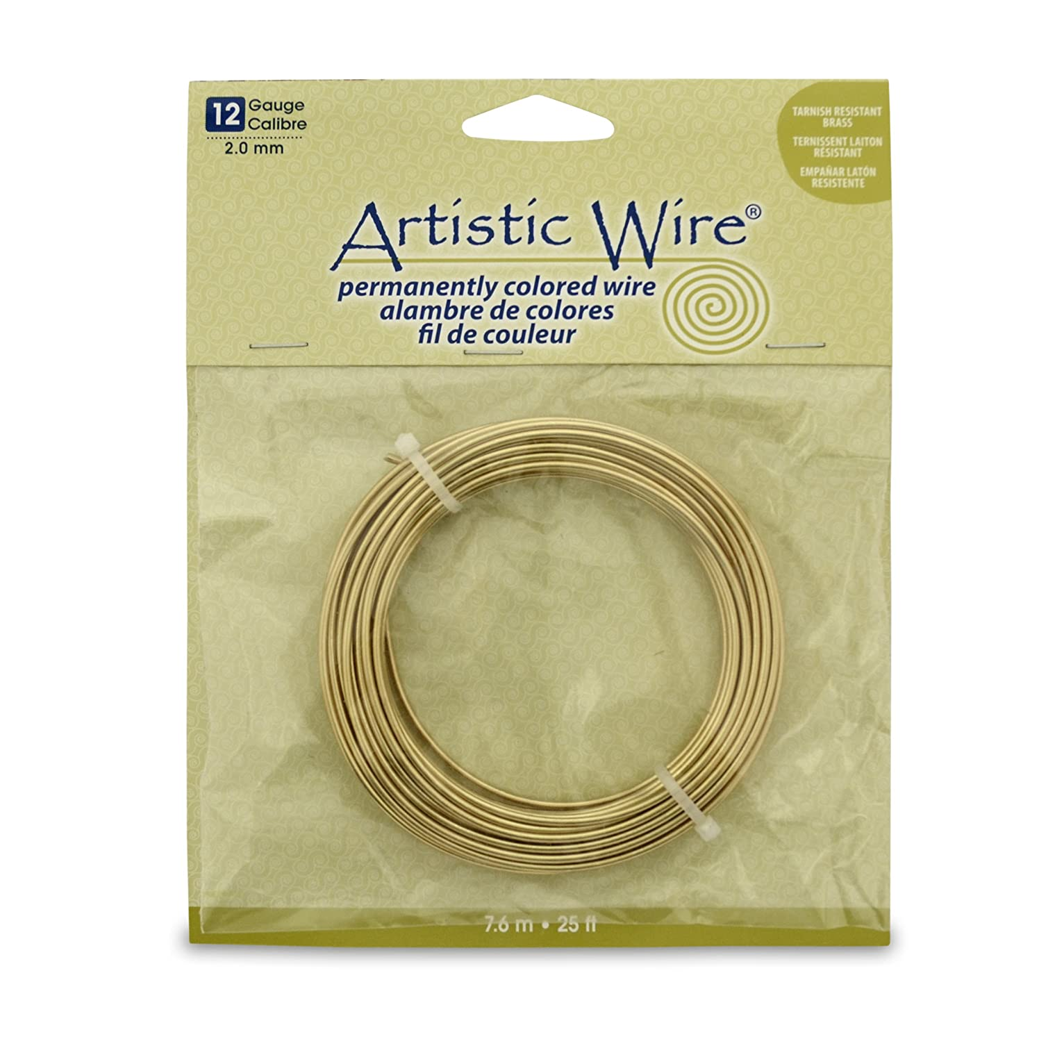 Artistic Wire 12 Gauge Wire, Tarn Resist Brass, 25-Feet