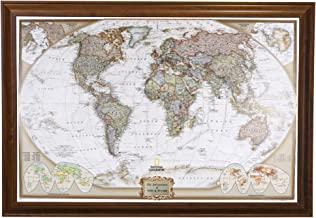 Push Pin Travel Maps Personalized Executive World with Brown Frame and Pins - 27.5 inches x 39.5 inches