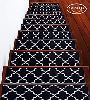 Sussexhome Stair Treads Trellisville Collection Contemporary, Cozy, Vibrant and Soft Stair Treads | Navy & White, 9