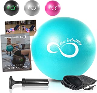 9 Inch Barre Pilates Ball & Hand Pump– Anti Burst Mini Ball & Digital Workout eBook Included For Yoga, Exercise, Balance & Stability Training – Comes With Mesh Carrying Bag & Self-Sealing Valve