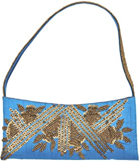 Exotic India Turquoise-Blue Purse with Golden Sequins and Bead Work