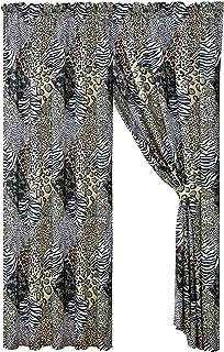 4 Piece Jungle Safari Animal Print Window Drapes Curtain Set, Black White Gray Leopard Zebra Giraffe Jungle Forest Theme R...