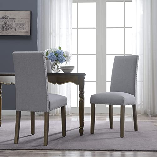 high quality BELLEZE high quality new arrival Set of (2) Dining Chairs Linen Seat Cushion Nailhead Trim Accent Elegant Side Chair Wooden Leg, Gray sale