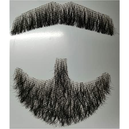 ALISY 付け髭 ひげ 口髭 人毛 ウィッグ 髪製髭 手作り本物 1枚 (fu cheng)