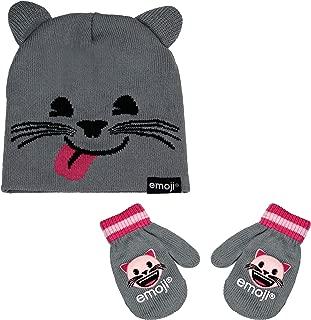 Girls Emoji Heart Eyes Smiley Face Winter Stretch Knit Beanie Hat w Cat Ears and Mitten Glove Toddler Gift Set