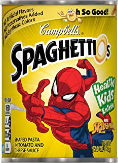 Campbell's SpaghettiOs Canned Pasta, Spider-ManShaped Pasta, 15.8 Ounce (Pack of 12) (Packaging May Vary)