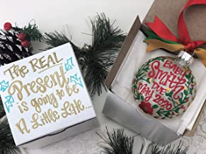 Hand Painted Christmas Baby Pregnancy Announcement Ornament with Gift Box - The Real Present is going to be a little late. Baby Due 2020 - Christmas Floral Colors