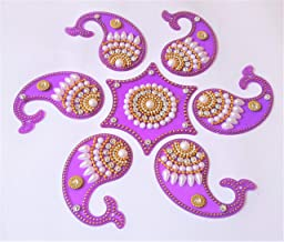 Acrylic Rangoli Mango Shape Reusable for Floor and Wall Decoration for Diwali and Puja Functions(Set of 7 Pieces) (Purple)