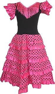La Senorita Spanish Flamenco Dress Fancy Dress Costume - Girls/Kids - Pink/Black