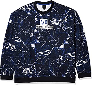 A|X Armani Exchange Men's Pull on All-Over Marble Print Sweatshirt with Logo