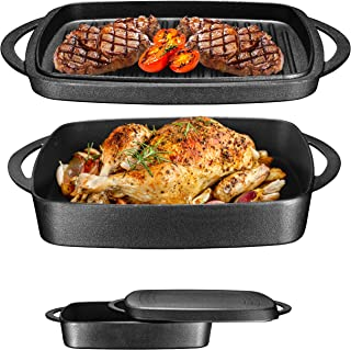 """Pre-Seasoned Cast Iron Square Casserole Baker With Griddle Lid 2 in 1 Multi Baker Dish 10"""""""