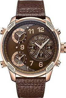 JBW Luxury Men's G4 0.16 Carat Diamond Wrist Watch with Leather Bracelet