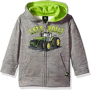 John Deere Baby-Boys JFJ787HT Fleece Zip Poly Hoody Hooded Sweatshirt - Gray