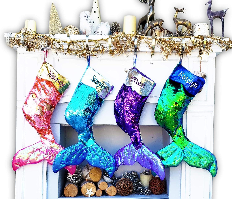 Large Mermaid Tail Gifts Kansas City Mall Christmas Reversible Stockings Flip Sequins