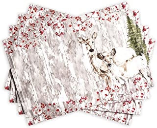 Maison d' Hermine Mountain Life 100% Cotton Set of 4 Placemats 13 Inch by 19 Inch. Perfect for Thanksgiving and Christmas