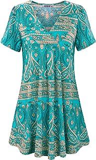 MOQIVGI Womens V Neck Printed Loose Fit Casual Blouse Top Tunic Shirt