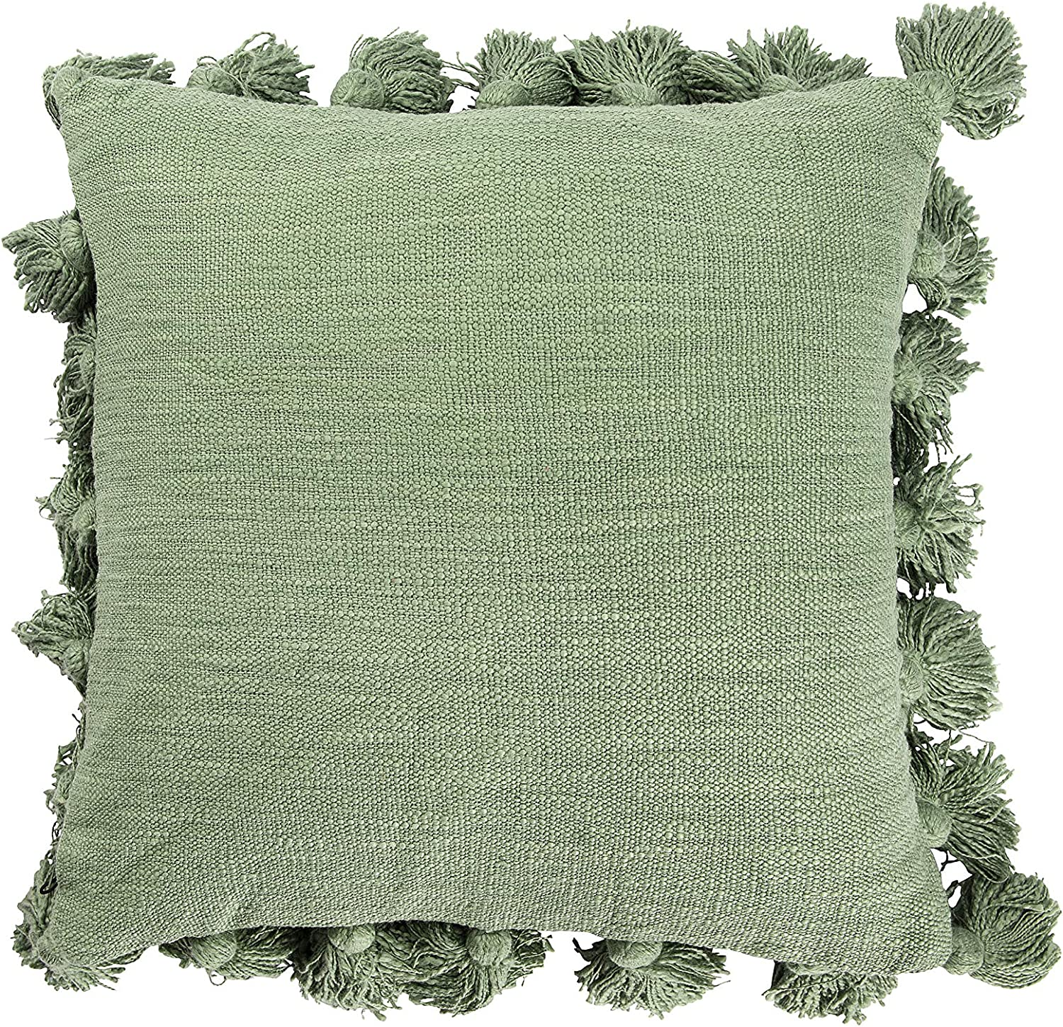 Special price for a limited time Creative New York Mall Co-Op Square Cotton Pillow Green with Tassels