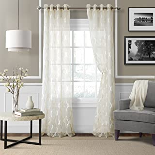 "Elrene Home Fashions 26865853964 Grommet Sheer Ironwork Jacquard Woven Single Panel Window Curtain Drape, 52"" x 95"", Ivory, 1"