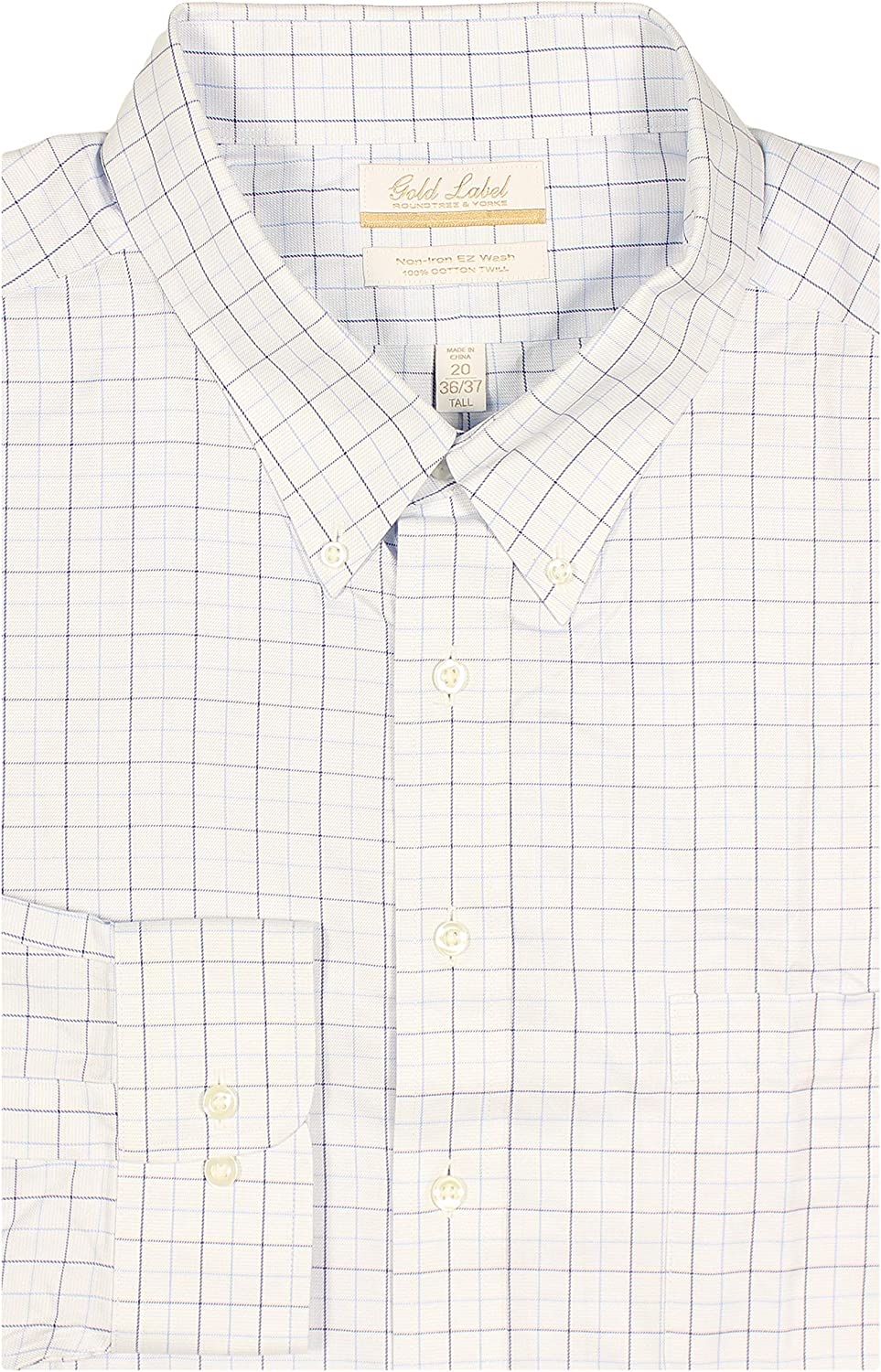 Gold Label Men's Big and Tall Non-Iron Wrinkle-Resistant Easy-Care Cotton Twill Dress Shirt, Button-Down Collar (Blue Mulit 036, 20