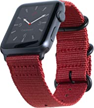 Carterjett Compatible with Apple Watch Band 38mm 40mm Series 4 3 2 1 Replacement iWatch Band Red Woven Nylon NATO Steel Buckle Clasp for Nike Sport Edition Series 5 4 3 2 1 (38 40 S/M/L Red)