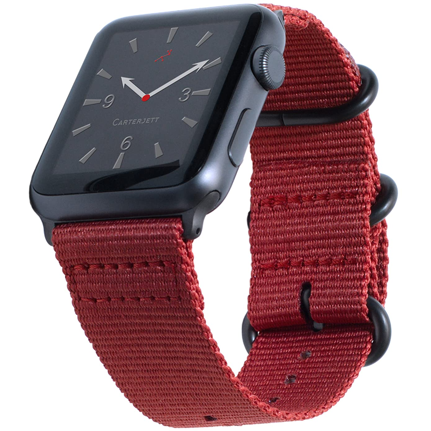 Carterjett Compatible Apple Watch Band Red 42mm 44mm Woven Nylon NATO Replacement iWatch Band Canvas Strap Gray Steel Clasp Adapters Compatible Apple Watch Series 1 2 3 Series 4 (42 44 S/M/L Red)