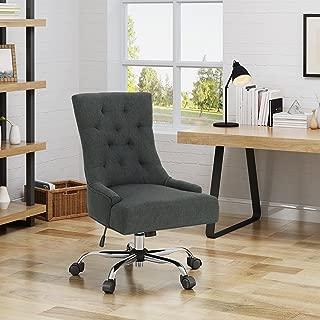 Christopher Knight Home Bagnold Desk Chair, Dark Gray + Chrome