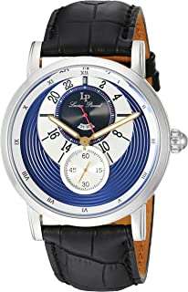 Lucien Piccard Men's 'Santorini' Quartz Stainless Steel and Leather  Watch, Color:Black (Model: LP-40043-03)