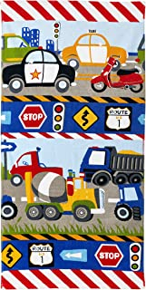 dream FACTORY Trains and Trucks 100% Cotton Bath Towels, 20Wx50L, Yellow
