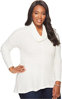 Lucky Brand - Plus Size Cowl Neck Lurex Thermal