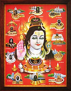 Handicraft Store Shiva with 12 Jyotirlinga, A Poster Painting with Frame for Hindu Religious Worship Purpose