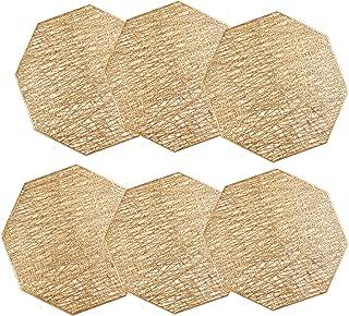 U'Artlines Octagonal Placemats Hollow Out Mats Vinyl Non-Slip Heat Insulation Kitchen Table Mats (Gold, Placemats 6pcs)