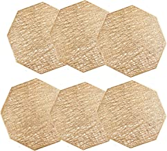 U'Artlines Octagonal Placemats Hollow Out Mats Vinyl Non-Slip Heat Insulation Kitchen Table Mats(Octagonal Gold, 6pcs)
