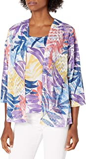 Alfred Dunner Women's Watercolor Leaf Two for One