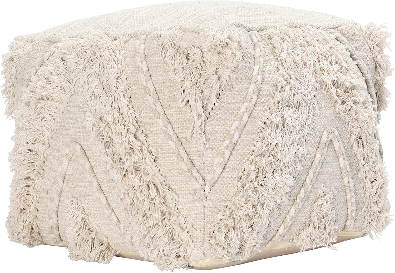Kosas Home Now on sale Ankora Natural Cheap SALE Start Pouf Ivory