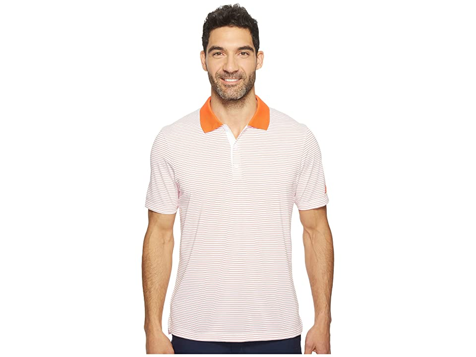 Image of adidas Golf 2-Color Merch Stripe Polo (White/Energy) Men's Short Sleeve Pullover