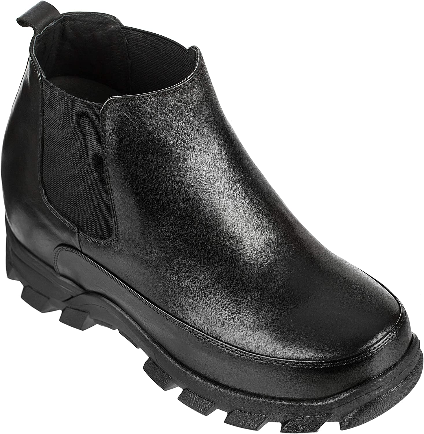 CALDEN Men's Invisible Height Increasing Elevator shoes - Black Leather Slip-on Hiking-Style Ankle Boots - 4.9 Inches Taller - K332011