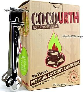 Natural Coconut Organic Hookah Charcoal 96 Pieces Flat Coco Cocourth Nara Mazaya 1 Kilo Box Shisha Coal with tongs
