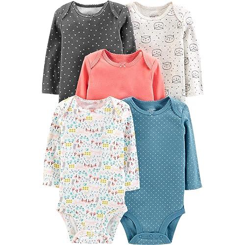 080bf5d4b Simple Joys by Carter's Baby Girls' 5-Pack Long-Sleeve Bodysuit